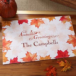 Personalization Mall Personalized Autumn Greetings Fall Leaves Doormat at Sears.com