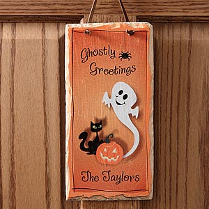 Personalized Halloween Ghost Slate Wall Plaque - 5941