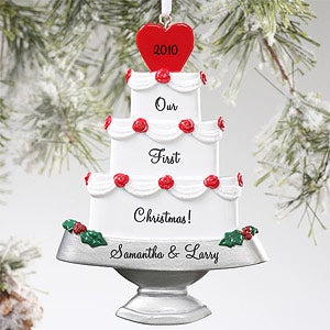 Personalization Mall Personalized Wedding Cake Christmas Ornament at Sears.com