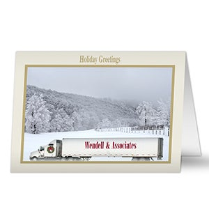 Personalized Semi Truck Business Christmas Cards - 5982