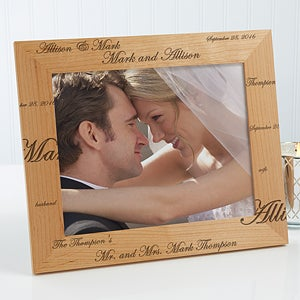 Personalized 8x10 Wedding Picture Frame - Wood Mr. & Mrs. Collection - 5990