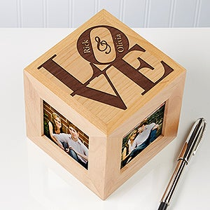 Personalized Wooden Photo Cubes - Romantic Ours Love Design - 6072