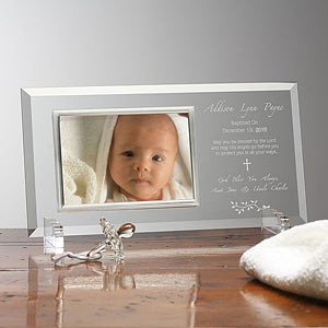 Engraved Glass Personalized Christening Picture Frames - 6105