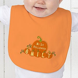 Personalized Baby's First Halloween Pumpkin Bib - 6133
