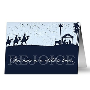 Away In A Manger Personalized Nativity Christmas Cards - 6176
