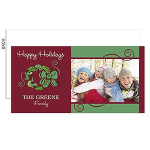 Christmas Wreath Personalized Photo Postcard Christmas Cards - 6195