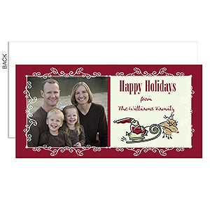 Personalized Photo Postcard Christmas Cards - Santa's Sleigh - 6196