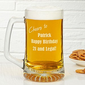 Personalized Glass Birthday Beer Mug - Cheers to You - 6199