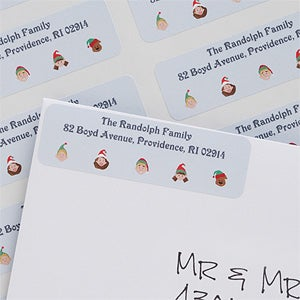 Holiday Family Personalized Character Return Address Labels - 6260