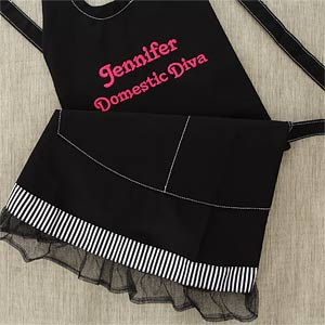 Black Personalized Apron with Ruffle - You Name It - 6262