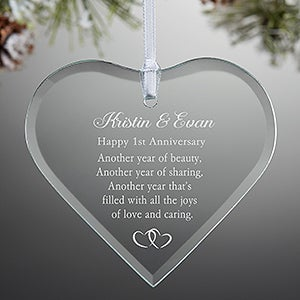 Personalized Anniversary Glass Heart Ornament - 6286