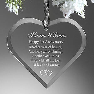 Personalized Anniversary Christmas Ornament - Glass Heart - 6286