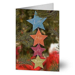 Personalized Love, Hope, Joy, Believe Star Christmas Cards - 6288