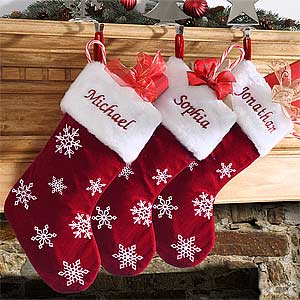 buy red velvet personalized christmas stockings you can customize with any names the plush red velvet stockings feature delicate white snowflakes and a