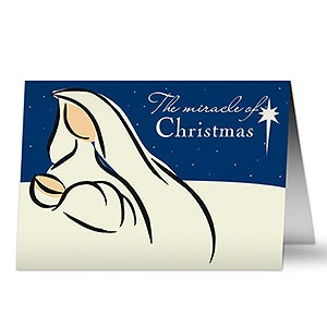 Mary & Jesus Personalized Catholic Christmas Cards - 6310