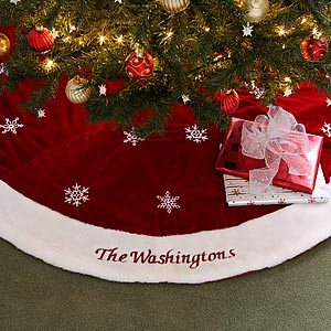 red velvet personalized christmas tree skirt