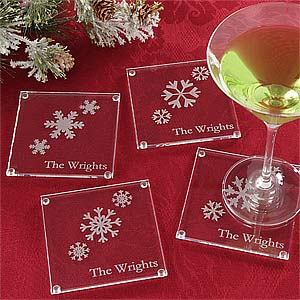 Holiday Snowflake Personalized Glass Coaster Set - 6329