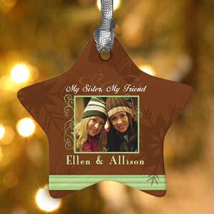 Sisters Personalized Photo Christmas Ornament - 6376