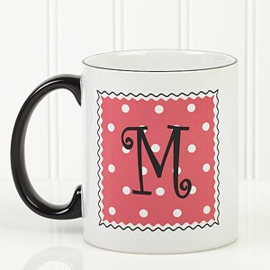 Womens Personalized Polka Bot Coffee Mug - 6386