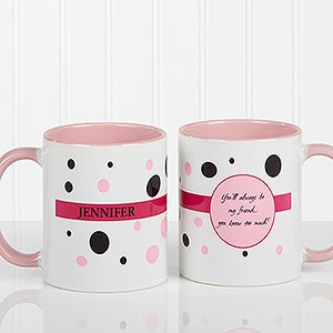 Ladies Polka Dot Personalized Coffee Mug for Women - 6395