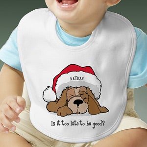 Personalization Mall Personalized Puppy Dog Christmas Baby Bib - Too Late To Be Good? at Sears.com