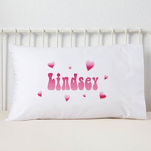 Personalized Girls Pillowcases - Lots of Hearts Design - 6406