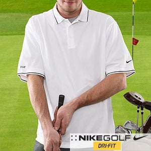 Personalization Mall Nike Dri-FIT Embroidered Monogram Golf White Polo Shirt at Sears.com