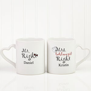 Mr and Mrs Right Personalized Wedding Coffee Mug Set - 6467