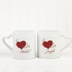 His & Hers Romantic Heart Personalized Coffee Mug Set - 6475