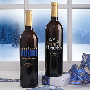 Personalized Happy Hanukkah Wine Art - 6486