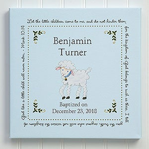 Christian Lamb Personalized Baptism Blessings Canvas Gift - 6495