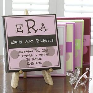 Personalized Baby Girl Announcement Canvas Wall Art - 6528