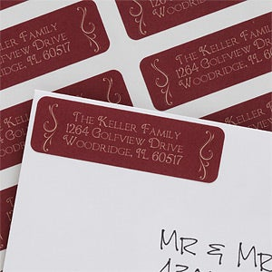 Personalized Holiday Swirl Return Address Labels - 6533
