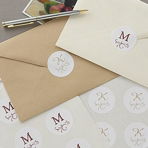 Initial Monogram Personalized Stationery Envelope Seals 6547