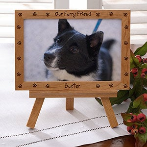 Engraved Wood Personalized Pet Picture Frame - Furry Friend - 6558