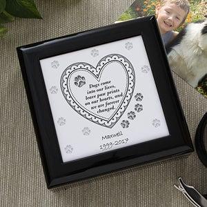 Dog or Cat Paw Prints Personalized Keepsake Memory Box - 6562