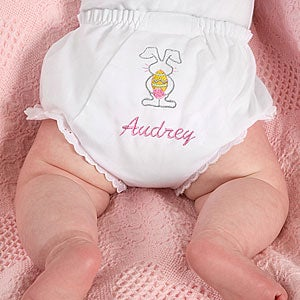 Embroidered Easter Bunny Diaper Cover - 6600