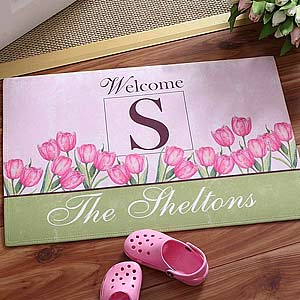 Personalized Spring Tulip Family Name Doormat - 6602