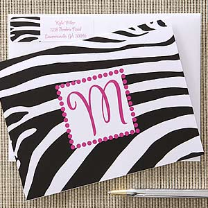 Zebra Print Personalized Note Card Set - 6621