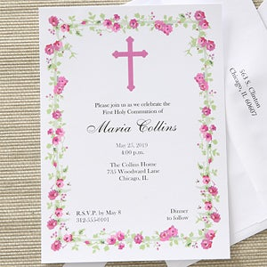 Girls personalized first holy communion invitations floral design girls personalized first holy communion invitations floral design 6629 solutioingenieria Choice Image