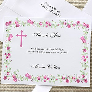 Girl's Floral Blessing Custom Printed Thank You Notes - 6663