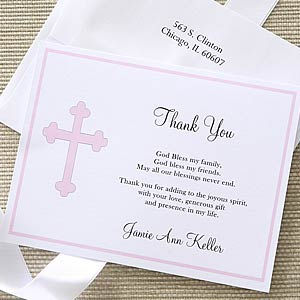 Christian Cross Personalized Girl S Thank You Cards