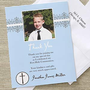 boys first communion personalized photo thank you cards first communion gifts
