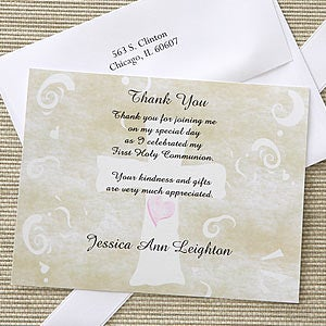 Christian Cross Personalized Holy Communion Thank You Cards - 6672