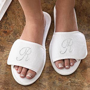 Women's Personalized Spa Slippers with Rhinestone Monogram - 6695