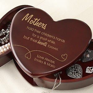 Cherry Wood Heart Personalized Jewelry Box - 6720