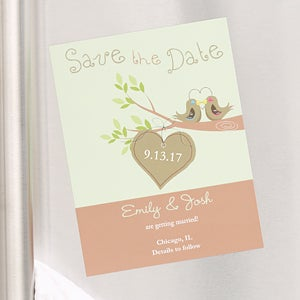 Personalized Love Birds Save The Date Cards & Magnets - 6754