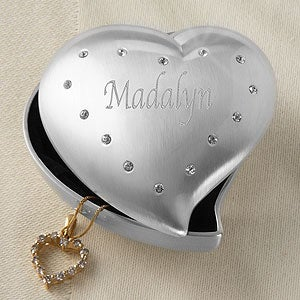 Personalized Heart Shaped Jewelry Box for Women - 6833