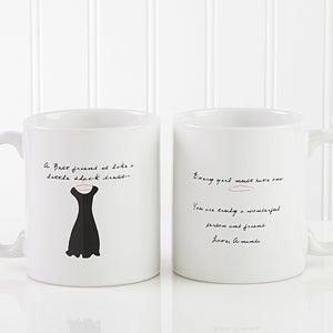 Personalized Best Friend Ceramic Coffee Mug - Black Dress Design - 6838