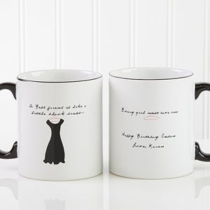 Personalized Best Friend Ceramic Coffee Mug - Black Dress Design - 6838